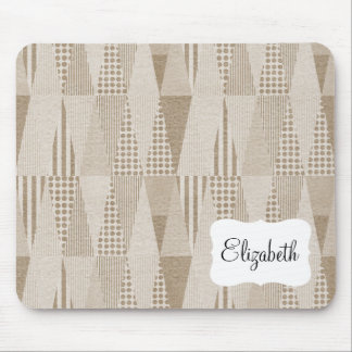 Mid Century Modern Abstract Neutral Print Mouse Pad