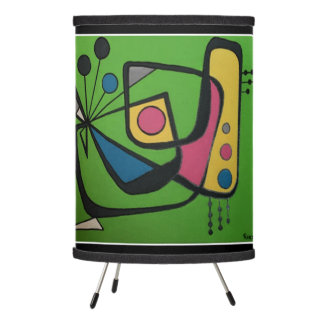 'Mid Century Modern Abstract num 4' on a Tripod Lamp