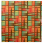 Mid Century Modern Abstract Plaid Red Blue Green Napkin