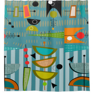 Mid-Century Modern Abstract Shapes Blue Shower Curtain