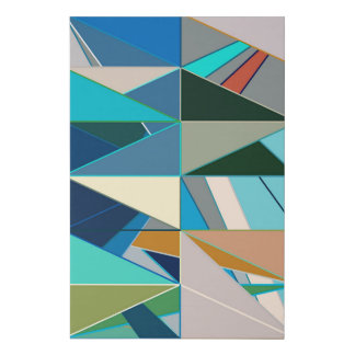 Mid-Century Modern Abstract, Turquoise and Neutral Faux Canvas Print