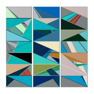 Mid-Century Modern Abstract, Turquoise & Neutrals Triptych
