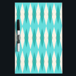 "Mid Century Modern Argyle Dry Erase Board<br><div class=""desc"">This Mid Century Modern Argyle Dry Erase Board (small print) features a vibrant, turquoise background and a pattern of mod, translucent teal diamonds overlaying larger, vintage cream diamonds with gold colored, space age speckles. This minimalist inspired, deconstructed argyle is a simplistic throwback of the larger than life atomic era that...</div>"