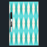 """Mid Century Modern Argyle Dry Erase Board<br><div class=""""desc"""">This Mid Century Modern Argyle Dry Erase Board (small print) features a vibrant, turquoise background and a pattern of mod, translucent teal diamonds overlaying larger, vintage cream diamonds with gold colored, space age speckles. This minimalist inspired, deconstructed argyle is a simplistic throwback of the larger than life atomic era that...</div>"""