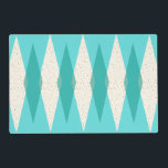 """Mid Century Modern Argyle Placemat<br><div class=""""desc"""">This Mid Century Modern Argyle Placemat features a vibrant, turquoise background and a pattern of mod, translucent teal diamonds overlaying larger, vintage cream diamonds with gold colored, space age speckles. This minimalist inspired, deconstructed argyle is a simplistic throwback of the larger than life atomic era that dominated the decorating landscape...</div>"""
