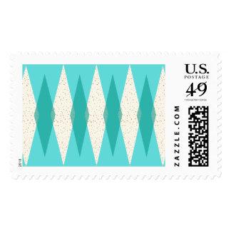 Mid Century Modern Argyle Postage Stamps