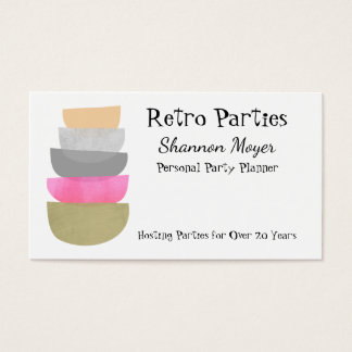 Mid Century Modern Art Pastels Party Event Planner Business Card