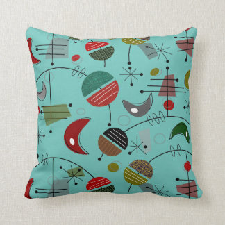 Mid-Century Modern Atomic Abstract Throw Pillow