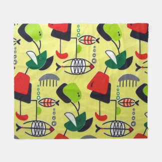Mid Century Modern Atomic Design Fleece Blanket