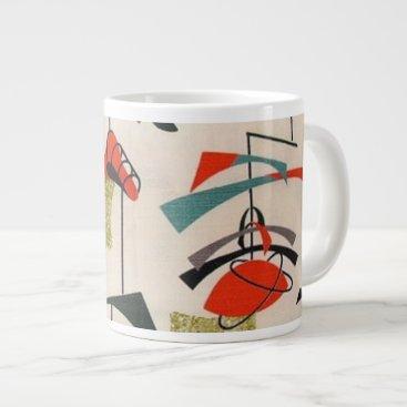 Coffee Themed Mid Century Modern Atomic Fabric Jumbo Mug