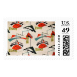 Mid Century Modern Atomic Fabric Postage Stamp