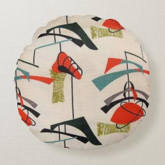 Mid Century Modern Atomic Fabric Round Pillow