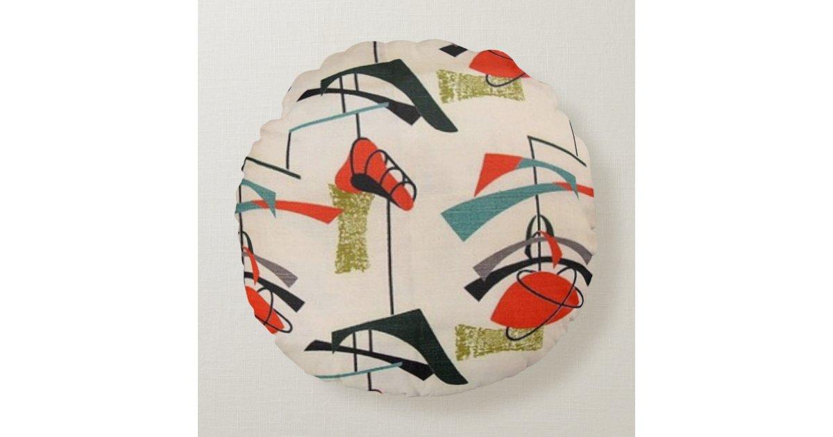 Mid Century Modern Atomic Fabric Round Pillow Zazzle