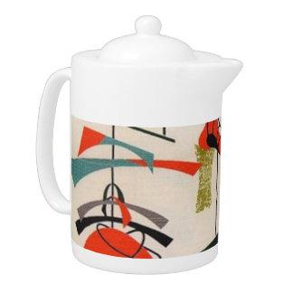 Mid Century Modern Atomic Fabric Teapot
