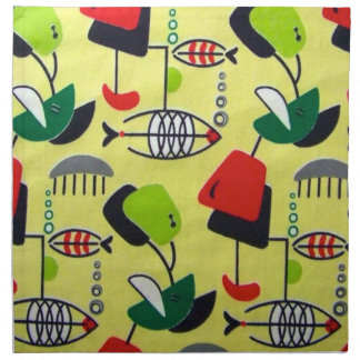 Mid Century Modern Atomic Fish Cloth Napkins