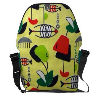 Mid Century Modern Atomic Fish Messenger Bag
