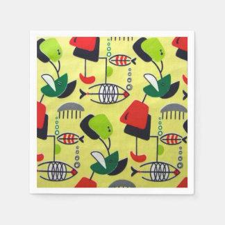 Mid Century Modern Atomic Fish Paper Napkins