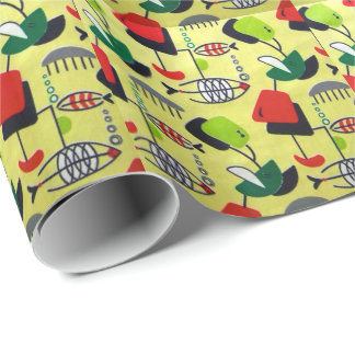 Mid Century Modern Atomic Fish Wrapping Paper