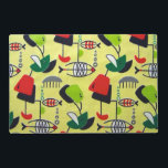 "Mid Century Modern Atomic Laminated Placemat<br><div class=""desc"">This Mid Century Modern Atomic Fish Design Laminated Placemat features a replica of a vintage 1950&#39;s fabric. The background is pale yellow with mobiles in vibrant shades of red, dark green, lime green, black and white. The modern art shapes include everything from the abstract to the fish! There are small...</div>"