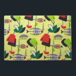 """Mid Century Modern Atomic Laminated Placemat<br><div class=""""desc"""">This Mid Century Modern Atomic Fish Design Laminated Placemat features a replica of a vintage 1950&#39;s fabric. The background is pale yellow with mobiles in vibrant shades of red, dark green, lime green, black and white. The modern art shapes include everything from the abstract to the fish! There are small...</div>"""