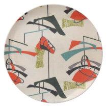 Mid Century Modern Atomic Melamine Plate