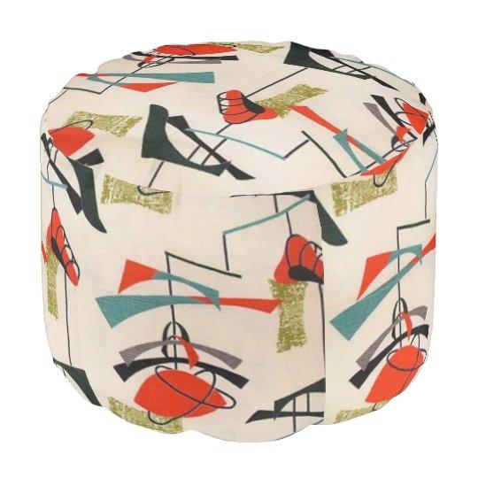 Mid century modern atomic mobile round pouf - Mid century mobel ...
