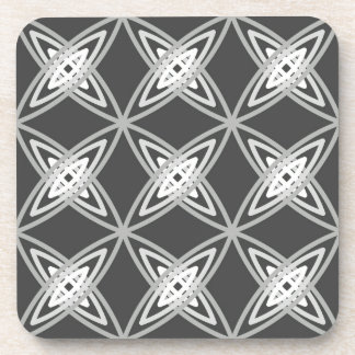 Mid Century Modern Atomic Print - Charcoal Gray Coaster