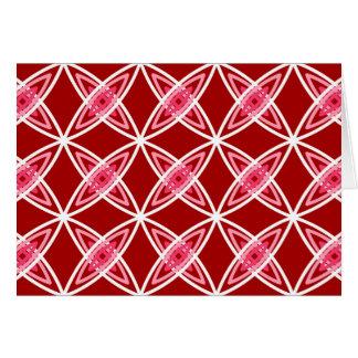 Mid Century Modern Atomic Print - Dark Red Stationery Note Card