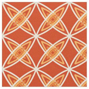 Mid Century Modern Atomic Print Mandarin Orange Fabric