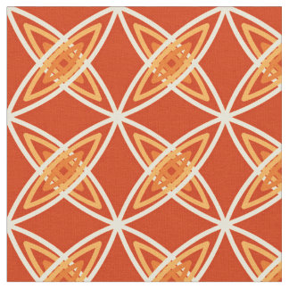 Mid Century Modern Atomic Print - Mandarin Orange Fabric