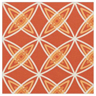 Mid Century Modern Atomic Print - Mandarin Orange Fabric