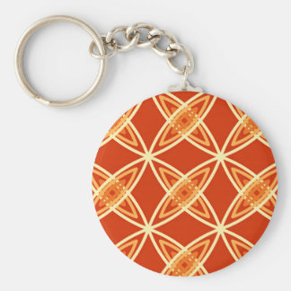 Mid Century Modern Atomic Print - Mandarin Orange Keychain