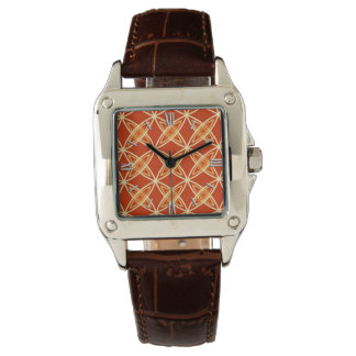 Mid Century Modern Atomic Print - Mandarin Orange Watch