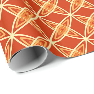 Mid Century Modern Atomic Print - Mandarin Orange Wrapping Paper