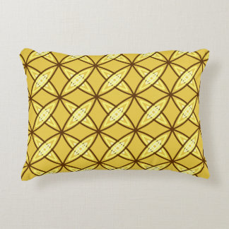 Mid Century Modern Atomic Print - Mustard Gold Accent Pillow