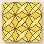Mid Century Modern Atomic Print - Mustard Gold Coaster
