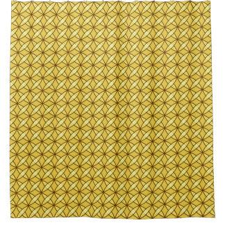 Mid Century Modern Atomic Print - Mustard Gold Shower Curtain
