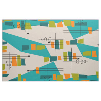 Mid-Century Modern Atomic Teal Abstract Fabric