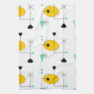 mid century modern blue yellow simple retro kitchen towel