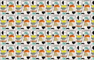 Mid Century Modern Bowls Fabric