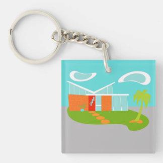 Mid Century Modern Cartoon House Acrylic Keychain