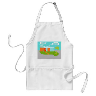 Mid Century Modern Cartoon House Apron