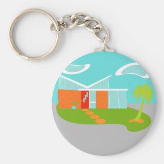 Mid Century Modern Cartoon House Button Keychain