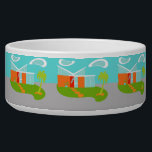"Mid Century Modern Cartoon House Ceramic Pet Bowl<br><div class=""desc"">This Mid Century Modern Cartoon House Ceramic Pet Bowl will have you wanting to put out the WELCOME mat and make yourself at home! The 1960&#39;s, minimalist art design features a sleek, orange stone and aqua glass house on a lush, green, boomerang shaped lawn. The lawn forms an oasis in...</div>"