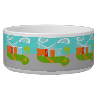 Mid Century Modern Cartoon House Ceramic Pet Bowl