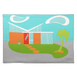 Mid Century Modern Cartoon House Cloth Placemat