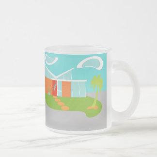 Mid Century Modern Cartoon House Frosted Glass Mug