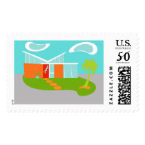 Mid Century Modern Cartoon House Postage Stamps