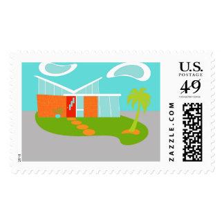 Mid Century Modern Cartoon House Postage Stamps
