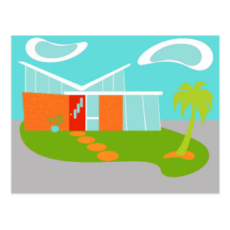 Mid Century Modern Cartoon House Postcard